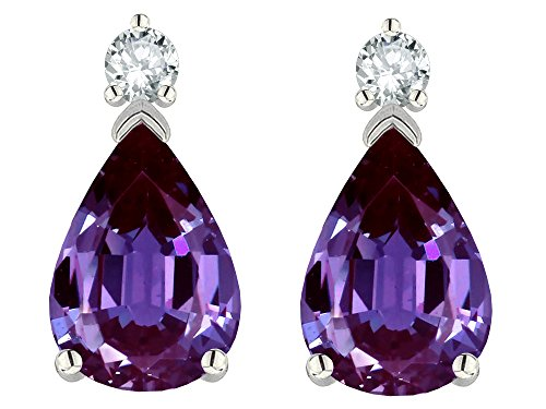 Star K 8x6mm Pear Shape Simulated Alexandrite Classic Drop Earring Studs 14 kt White Gold