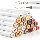 24 Skin-Tone Colors Alcohol Markers, Ohuhu Brush