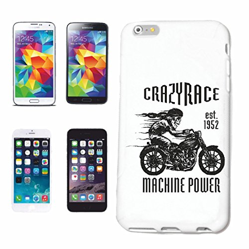 "cas de téléphone iPhone 7 ""RACE FOU SKULL BIKER SHIRT BIKE GOTHIC CLUB MC MOTO CHOPPER CUSTOM MOTO MOTO CLUB REUNION REUNION"" Hard Case Cover Téléphone Covers Smart Cover pour Apple iPhone en blanc"