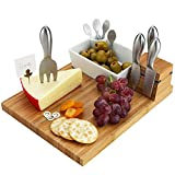 "Picnic at Ascot Bamboo Cheese Board with 4 Stainless Steel Cheese Tools, Ceramic Bowl, Cocktail Sticks & Cheese markers - 12"" x 9""- Designed & Quality checked in the USA"