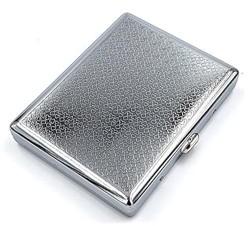 estuche de metal vintage para cigarrillos Poker Silver