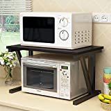 pipe stand with jar - raumeyun Wood Microwave Oven Rack Kitchen Cabinet and Counter Shelf Organizer, Black