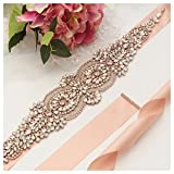 Yanstar Rose Gold Beads Wedding Bridal Belt Sash with Blush Ribbon for Bridesmaid Dress