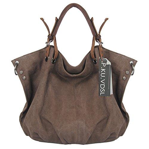 P.KU.VDSL Women's Hobos Shoulder Bags, European Style Canvas Tote, Top Handle Genuine Leather Ladies Handbag, Weekender Crossbody Bag for Women, Vintage Travel Bag, Oversized Shopping Bag