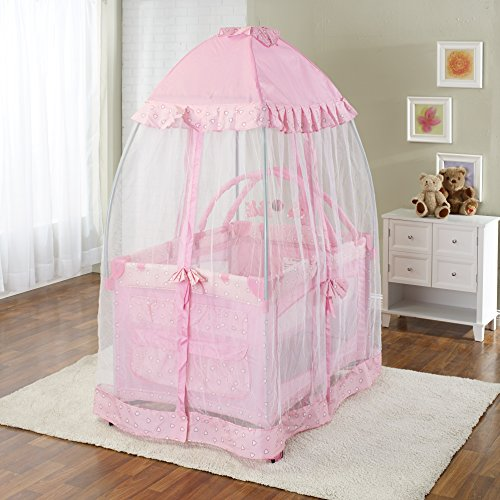 Big Oshi Portable Playard Deluxe Bundle - Nursery Center With Canopy Net Topper - Medium Size - Lightweight, Compact Design, Includes Carry Bag - Perfect for Indoor or Outdoor Backyard Use, Pink