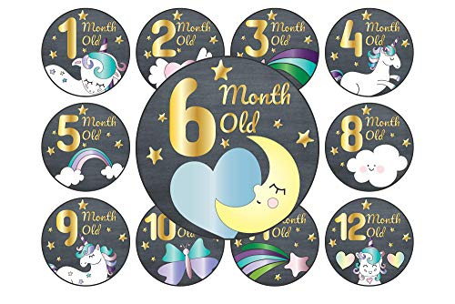 Unicorn Starry Night Baby Monthly Stickers, 24-Pack 4 inch 12 Monthly 1st Year Milestones & First Holidays Premium Baby Belly Stickers, Mom to Be or Dad to Be Gifts, Awesome Baby Shower Gifts ()