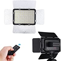 Powerextra 330 Beads 25W LED Video Light Dimmable Studio Camcorder Light Panel, 2.4G Remote Control, Diffuser, 2 Color Filters(Orange and Blue) for Canon Nikon Samsung Fujifilm Olympus DSLR Camera
