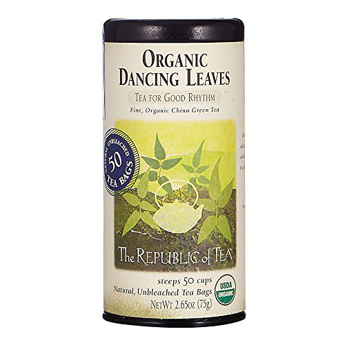 50 Tea Bag Tin - The Republic Of Tea Organic Dancing Leaves Green Tea, 50 Tea Bag Tin