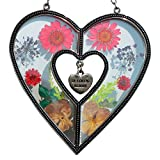 Tiffany Lamp & Gift Factory Stained Glass Suncatcher For Windows IN LOVING YOU MEMORY Heart Suncatcher Silver Metal and Glass with Pressed Flower Heart and One Hanging Heart Shaped Charms (4.254.75)