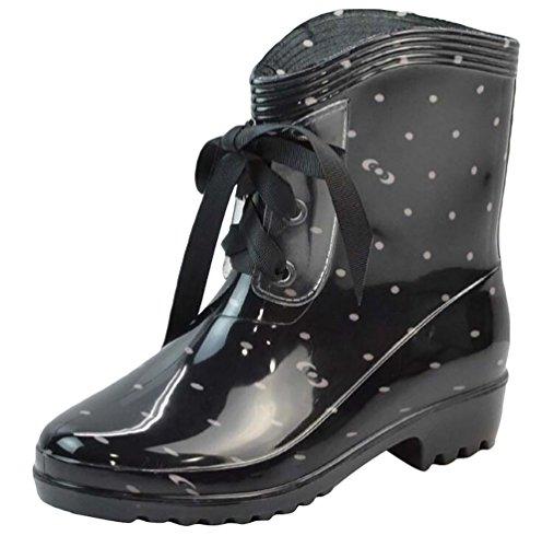 LvRao High Schuhe Gummi Schwarz Heel Schnee Rain Boots Ankle High Regen Booties Damen Damen Wasserdichte argwaT
