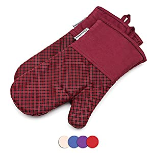 LA Sweet Home Silicone Oven Mitts 464 F Heat Resistant Potholders Plaid Cooking Gloves Non-Slip Grip for Kitchen Oven BBQ Grill Cooking Baking 7x13 inch as 1 pair (Red) by