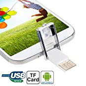 Mini Portable Micro 5 Pin USB Mobile Phone TF Card Reader / OTG Adapter with Anti-dust Cup for Galaxy S4 / i9500...