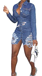 812ce3a3a3 Hotheart Women s Long Sleeve Lapel Button Ripped Distressed Holes Bodycon  Sexy Nightclub Party Denim Dress