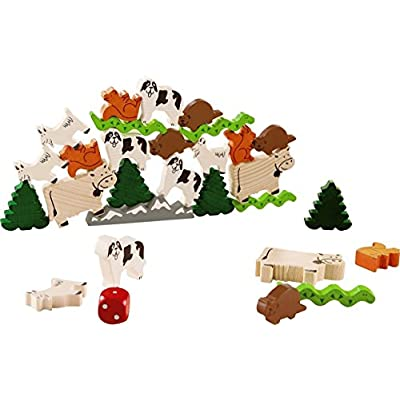 HABA Animal Upon Animal - Crest Climbers A Swiss-Inspired Wooden Animal Stacking Game (Made in Germany): Toys & Games