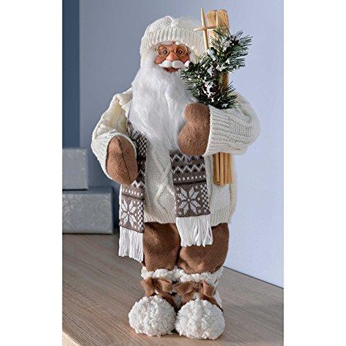 60b2d061d03d0a WeRChristmas Figurine de Père Noël avec Gilet en Tricot Tenue de Ski pour  Femme, 47 cm - Blanc Marron  Amazon.fr  Cuisine   Maison