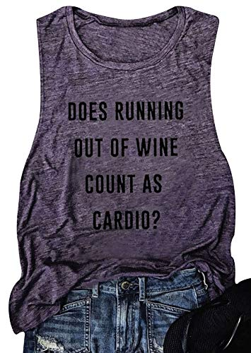 Women Does Running Out of Wine Racerback Tank Top Letters Print Funny T-Shirt Vest (Purple, -