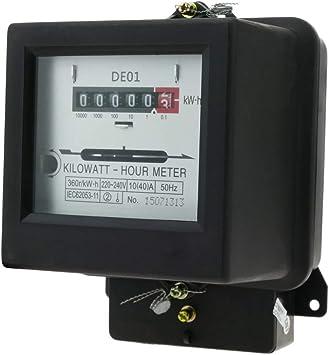 BeMatik Contador medidor de Electricidad monof/ásico 10A 230V 50Hz de pl/ástico Negro