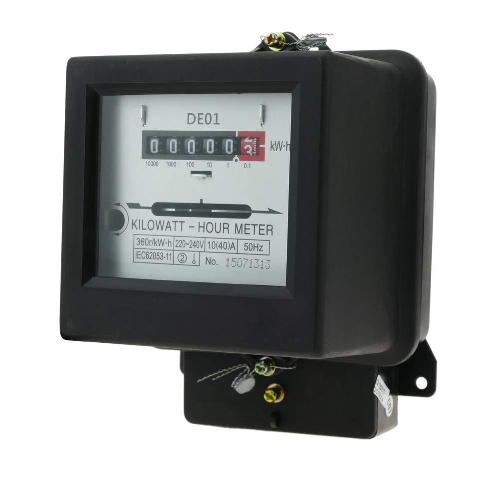 BeMatik Contatore misuratore Corrente elettrica alternata monofase 230V 50Hz 10A plastica Nera
