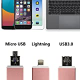 GiBot 3-in-1 Micro SD/ SD Memory Card Reader with Lightning USB 3.0 Micro USB OTG Adapter Card Reader for SDXC, SDHC, SD, Micro SDXC, Micro SD, Micro SDHC and TF Card, Rose Golden