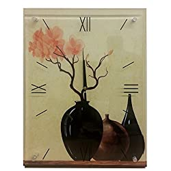 Glass Top Wooden Wall Clock Rectangle Clock with Roman Numerals Floral Design