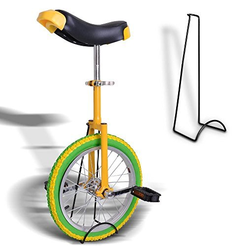 18'' Inches Wheel Skid Proof Tread Pattern Unicycle W/ Stand Uni-Cycle Bike Cycling GREEN YELLOW