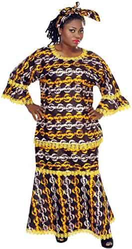 7b1f8746e72f8 African Planet Women Kenyan Style Clothing 3 Piece with Skirt Top Headwrap  Green