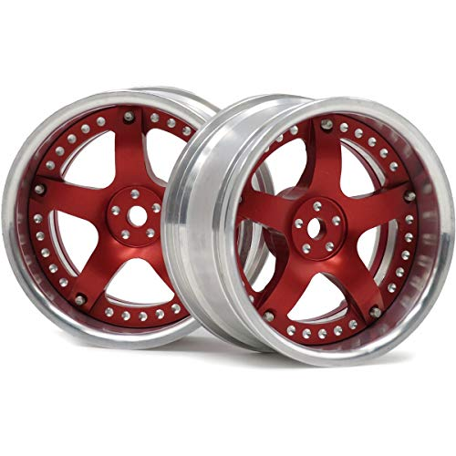 hobbysoul 2pcs RC 1/10 Aluminum Alloy Wheel Rims Hex 12mm Adjustable Offset Red & Silver Color Fit 1:10 RC On Road Drift Touring Car Tires ()