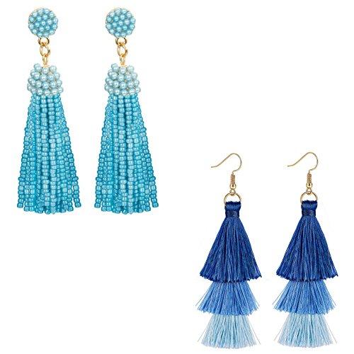 Earrings And Bar Bead - ORAZIO 2 Pairs Long Tassel Earrings For Women Girl Beaded Fringe Dangle Ear Drops (F:2 Pairs)
