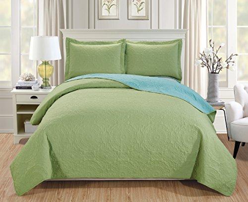 RT Designers Collection Quilt Set Lexington 3-Piece Reversible, King, Apple Green/Aqua