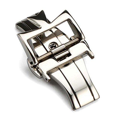 Hebilla déployante 18 mm de acero inoxidable, color plateado