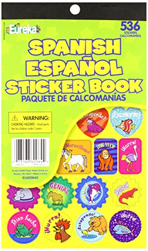 Eureka Back to School Spanish Classroom Supplies Assorted Spanish Sticker Book, 536 pcs