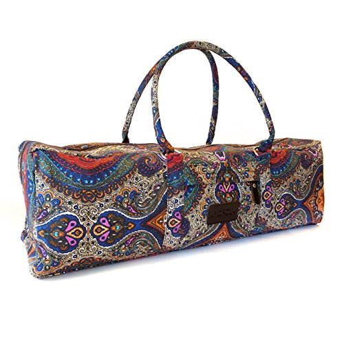 Yoga Mat Duffel Bag Patterned Canvas with Pocket and Zipper (Celestial)