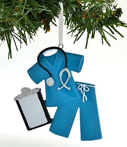 Scrubs Ornament - PERSONALIZED CHRISTMAS ORNAMENT SCRUBS DOCTOR NURSE BLUE