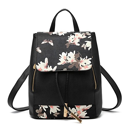 Women Leather Shoulder Bag Travel Camping Backpacks Schoolbags (Blossom black) by Huabor