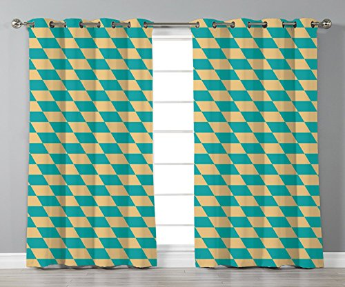 iPrint Satin Grommet Window Curtains,Geometric,Art Deco Style Chess Table Dart Like Horizontal Vintage Image,Turquoise and Light Yellow,2 Panel Set Window Drapes,for Living Room Bedroom Kitchen Cafe