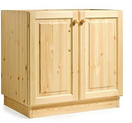 Base lavello cucina da L80- MOBILE GREZZO (NO LUCIDATO)/ TOP LEGNO ...