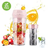 Portable Blender,Personal Blender with Filter for Shakes and Smoothie,Cordless Small Juice Cup Extractor, USB Rechargeable Juicer Detachable Fruit Mixer for Outdoor Travel Office Household Baby Food Maker (Pink)