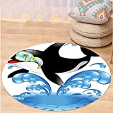 VROSELV Custom carpetFunny Decor Summer Holiday Ocean Cute Jumping Killer Whale With Sunglasses Cartoon Animal Love Theme Bedroom Living Room Dorm Decor Black Blue Round 72 inches