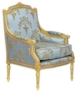 Casa Padrino Barock Lounge Thron Sessel Empire Blau Grau Gold Muster