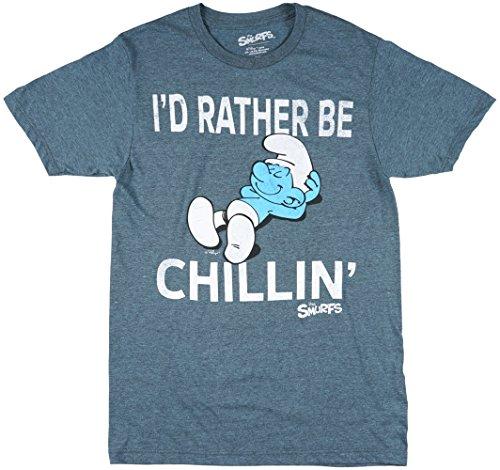 Smurfs Men's I'd Rather Be Chillin' Short Sleeve T-Shirt, Jade Black Heather, Large