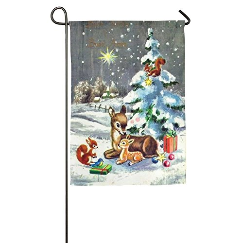 A smiling eye Garden Flag Decorations - Christmas Reindeers & Tree Flag For Outdoor Use