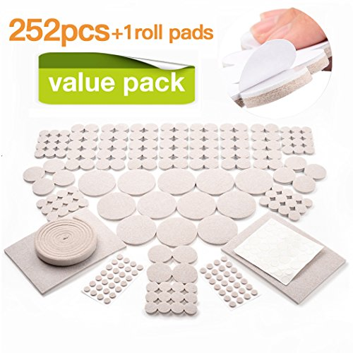 253 Value Pack Furniture Pads Multi Sizes Heavy Duty Adhesive Felt Pads For Your Wood Floor (Pad Value Pack)
