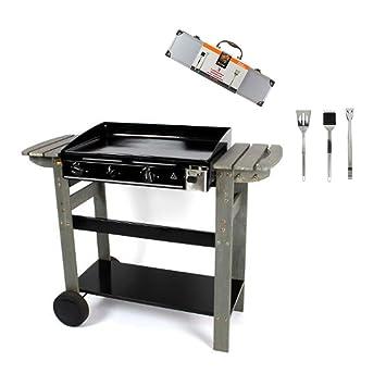 Barbacoa Gas plancha portátil plancha de gas sobre mueble + Kit utensilios barbacoa