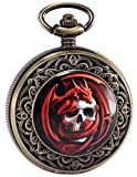 Steampunk Death Skull Pirate Red Dragon Retro Pendant Pocket Watch Gift WPK172