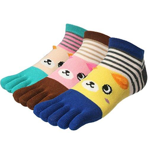 Trim Earflap - kilofly Cute Full Toe Socks Value Pack, Bear with Small Earflaps, Set of 3 Pairs