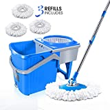 Masthome Spin Mop 7L Rolling Bucket Set With 3 Microfiber Heads Hand-Free Wringing Floor Cleaning Mop Easy Washing Flat Mop For Home Kitchen