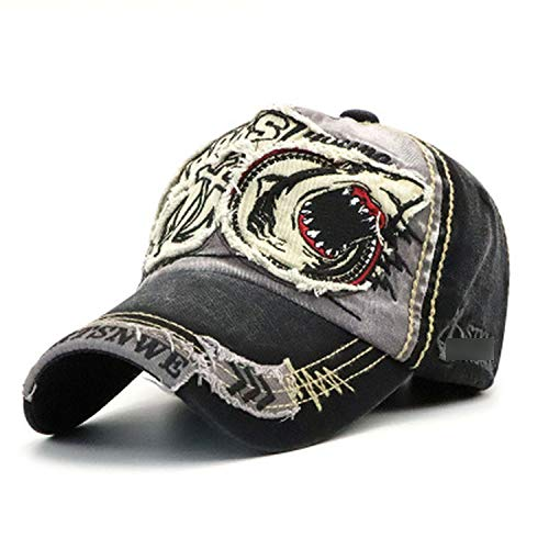 野球帽 男性女性 綿のサメの刺繍フィット キャップ,暗灰色