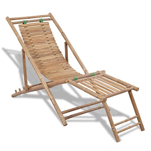 Festnight Outdoor Patio Garden Wood Folding Chaise Lounge Chair, Bamboo Deck Chair with Footrest