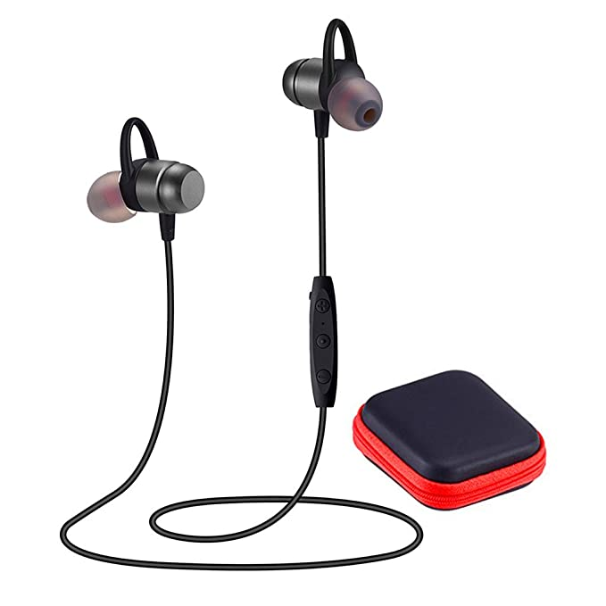 Bluetooth Headphones 4.2 Wireless Sports Earphones Hd Stereo Sweatproof Earbuds Magnetic Connection Headset For Gym Running Workout,Built In Mic,Battery Up To 10 Hours Playtime,Jwait,Gray by Jwait