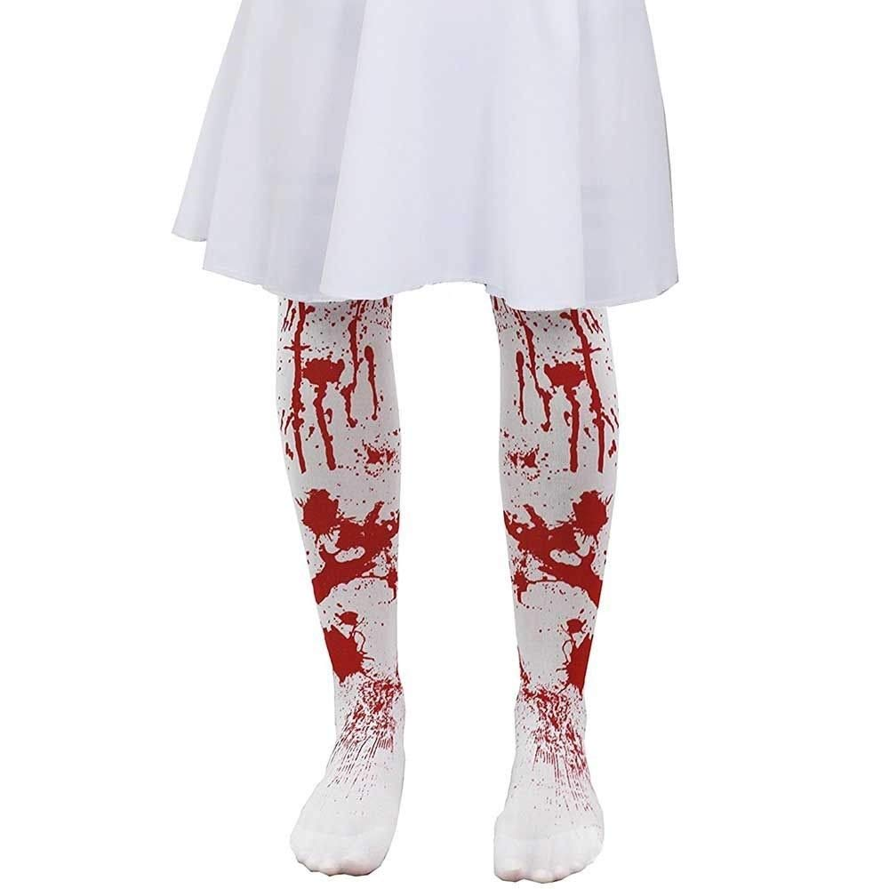 Ladies Zombie Blood Splatter Stained Tights Fancy Dress Halloween Accessory